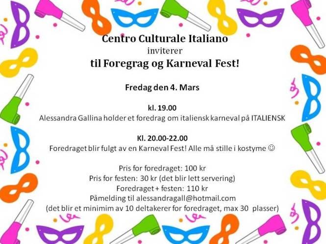 Invitasjon Foredraget og Karneval Fest
